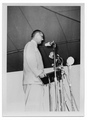 Lyndon Johnson Standing at a Miked Lectern