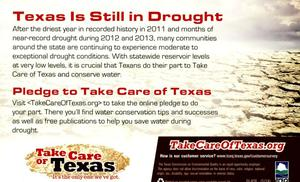 Primary view of object titled 'Texas Is Still In Drought, Pledge To Take Care Of Texas'.