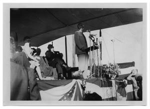 Lyndon Johnson Speaking at a Miked Lectern