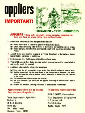 Primary view of object titled 'Appliers Important! Hormone-Type Herbicides'.