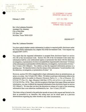 Primary view of object titled 'Texas Attorney General Open Records Letter Ruling: OR2000'.