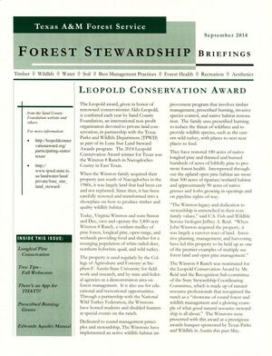 Primary view of object titled 'Forest Stewardship Briefings, September 2014'.