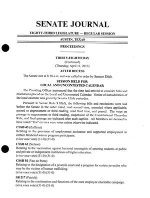 Primary view of object titled 'Journal of the Senate of Texas: 83rd Legislature, Regular Session, Thursday, April 11, 2013'.