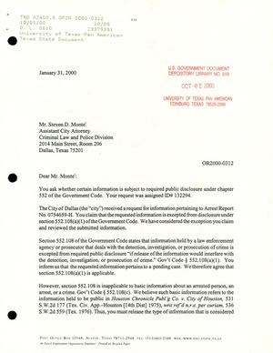 Primary view of object titled 'Texas Attorney General Open Records Letter Ruling: OR 2000-0312'.