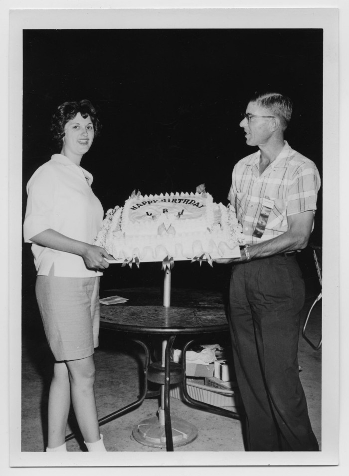 Strange Two People Holding A Birthday Cake The Portal To Texas History Birthday Cards Printable Opercafe Filternl