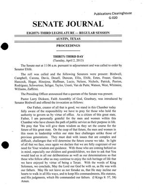 Primary view of object titled 'Journal of the Senate of Texas: 83rd Legislature, Regular Session, Tuesday, April 2, 2013'.