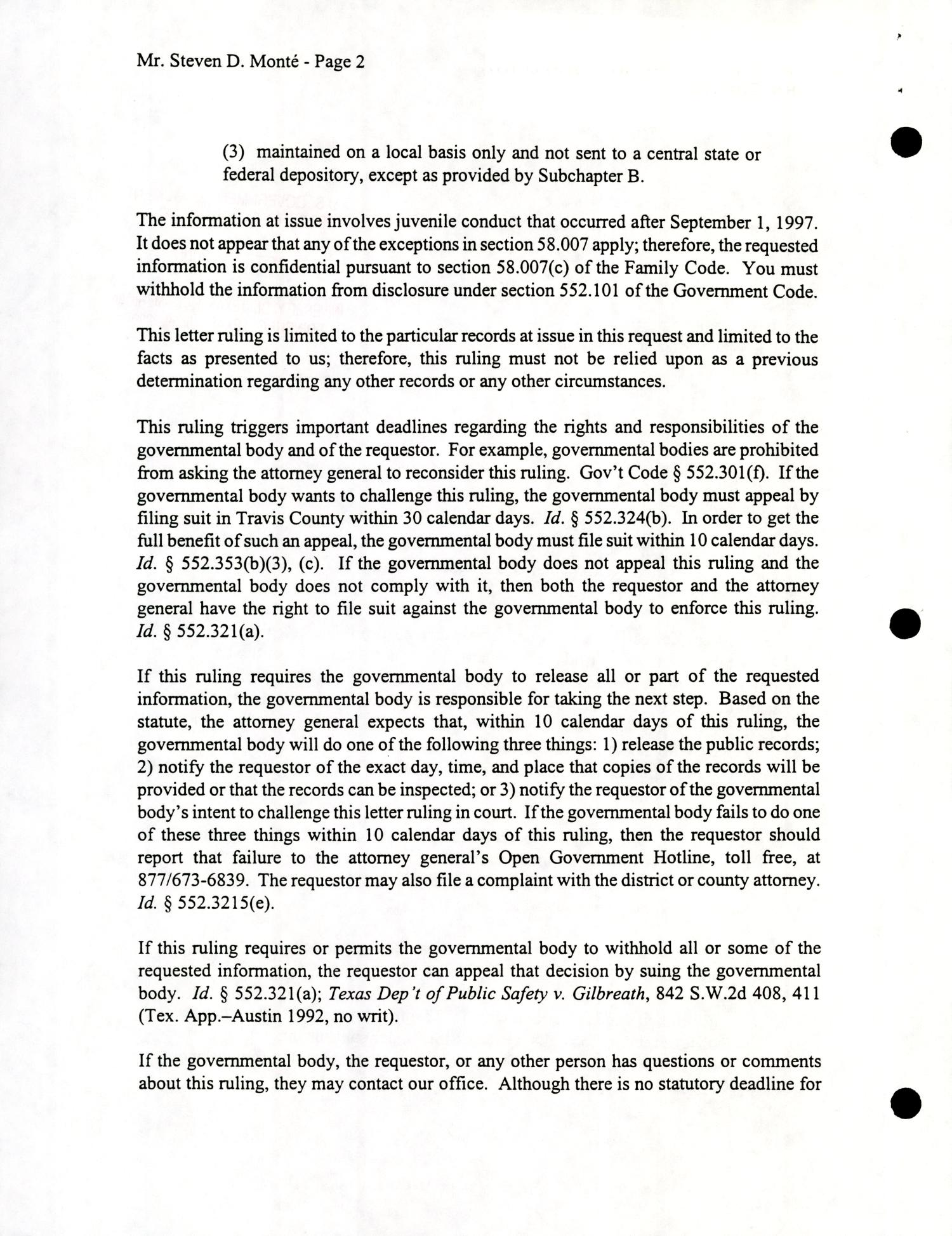 Texas Attorney General Open Records Letter Ruling: OR2000-0376                                                                                                      Page2