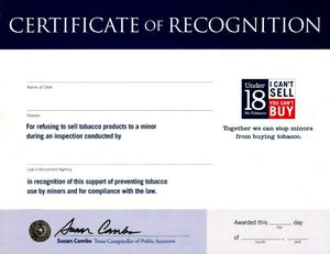 Primary view of object titled 'Certificate of Recognition'.