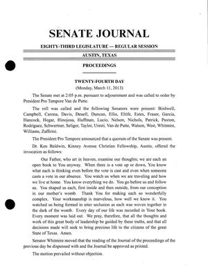 Primary view of object titled 'Journal of the Senate of Texas: 83rd Legislature, Regular Session, Monday, March 11, 2013'.