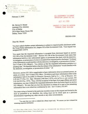 Primary view of object titled 'Texas Attorney General Open Records Letter Ruling: OR2000-0384'.
