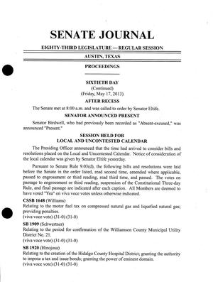 Primary view of object titled 'Journal of the Senate of Texas: 83rd Legislature, Regular Session, Friday, May 17, 2013'.