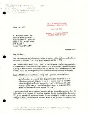 Primary view of object titled 'Texas Attorney General Open Records Letter Ruling: OR2000-0310'.