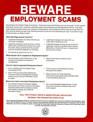 Primary view of object titled 'Beware Employment Scams'.