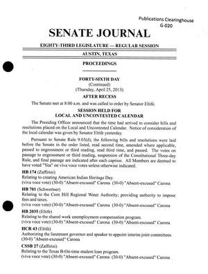 Primary view of object titled 'Journal of the Senate of Texas: 83rd Legislature, Regular Session, Thursday, April 25, 2013'.