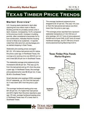 Primary view of object titled 'Texas Timber Price Trends, Volume 31, Number 2, March/April 2013'.
