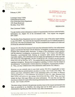 Primary view of object titled 'Texas Attorney General Open Records Letter Ruling: OR2000-0394'.