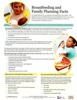 Primary view of object titled 'Breastfeeding and Family Planning Facts'.