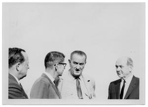 Primary view of object titled '[Lyndon Johnson Talking Among Three Men]'.