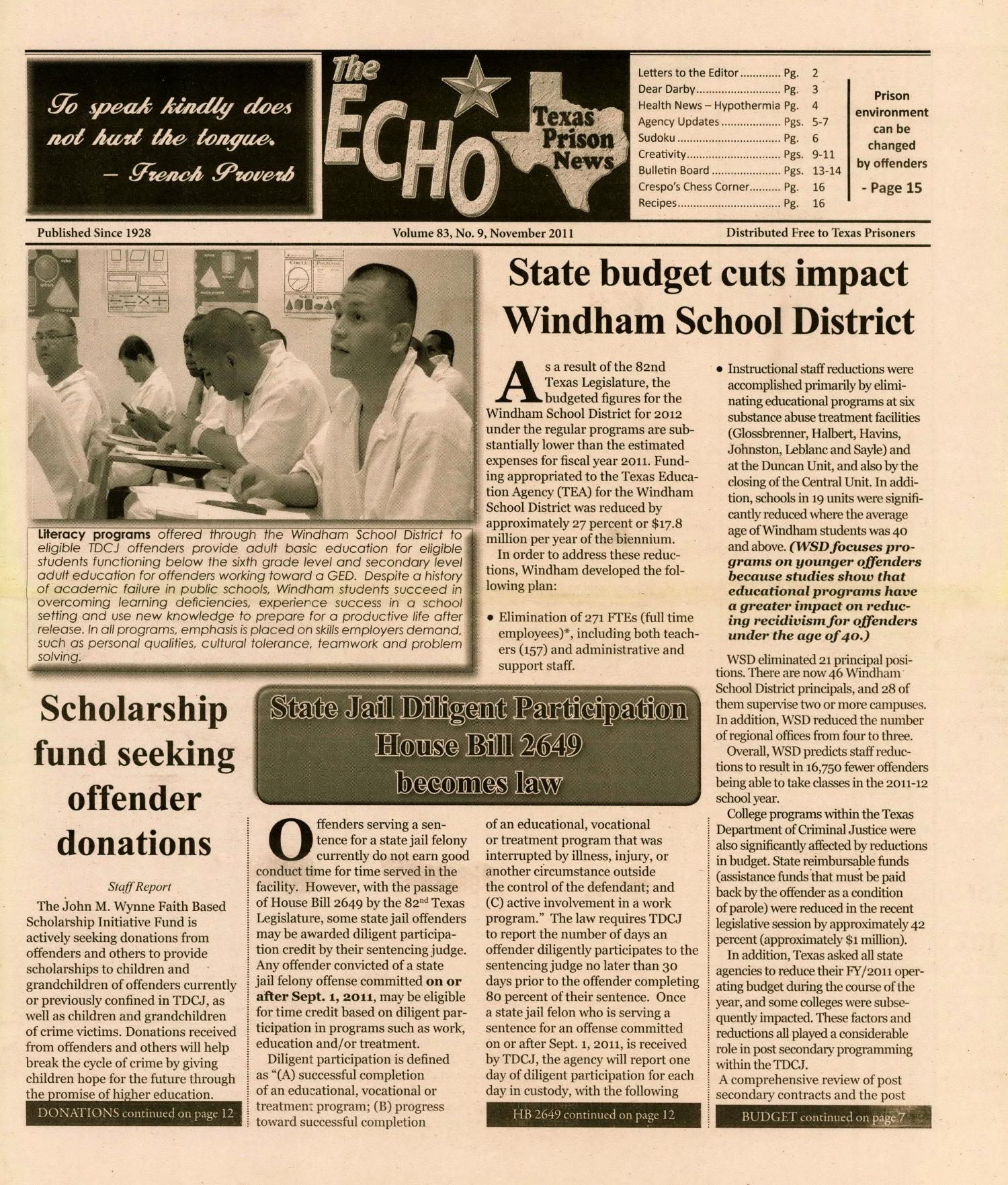 The ECHO, Volume 83, Number 9, November 2011 - The Portal to