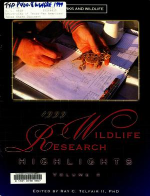 Primary view of object titled 'Wildlife Research Highlights, Volume 4, 1999'.
