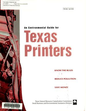 Primary view of object titled 'An Environmental Guide for Texas Printers'.