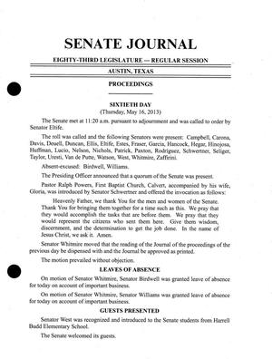 Primary view of object titled 'Journal of the Senate of Texas: 83rd Legislature, Regular Session, Thursday, May 16, 2013'.