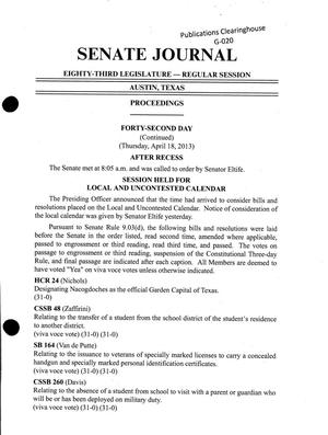 Primary view of object titled 'Journal of the Senate of Texas: 83rd Legislature, Regular Session, Thursday, April 18, 2013'.