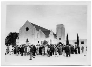 Primary view of object titled '[People Outside of Bethany Lutheran Church]'.