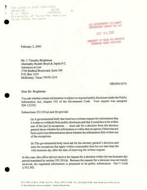 Primary view of object titled 'Texas Attorney General Open Records Letter Ruling: OR2000-0370'.