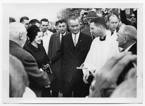 Primary view of object titled '[Ludwig Erhard, Lady Bird and Lyndon Johnson, and a Lutheran Cleric]'.