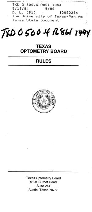 Primary view of object titled 'Texas Optometry Board Rules'.