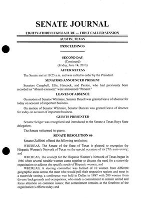 Primary view of object titled 'Journal of the Senate of Texas: 83rd Legislature, First Called Session, Friday, June 14, 2013, Continued'.