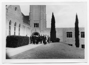 Primary view of object titled '[People Exiting Bethany Lutheran Church]'.