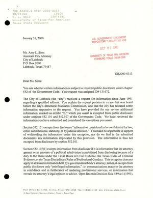 Primary view of object titled 'Texas Attorney General Open Records Letter Ruling: OR2000-0313'.