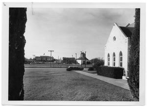 Primary view of object titled '[View of the Vereins-Kirsche from the Yard of the Bethany Lutheran Church]'.