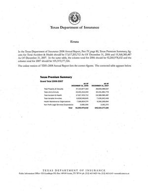 Primary view of object titled 'Texas Department of Insurance Annual Report: 2008, Errata'.