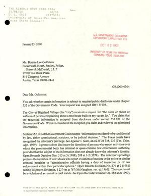 Primary view of object titled 'Texas Attorney General Open Records Letter Ruling: OR 2000-0304'.
