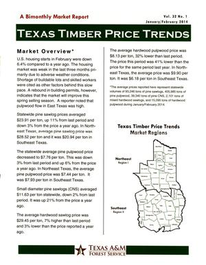Primary view of object titled 'Texas Timber Price Trends, Volume 32, Number 1, January/February 2014'.