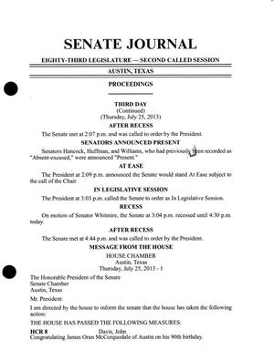 Primary view of object titled 'Journal of the Senate of Texas: 83rd Legislature, Second Called Session, Thursday, July 25, 2013'.