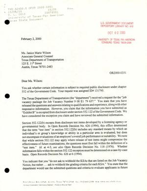 Primary view of object titled 'Texas Attorney General Open Records Letter Ruling: OR2000-0351'.