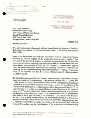 Primary view of object titled 'Texas Attorney General Open Records Letter Ruling: OR2000-0348'.