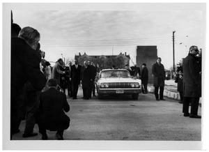 Primary view of object titled '[Ludwig Erhard and Lyndon Johnson Outside of a Car]'.