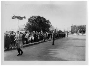 Primary view of object titled '[Cordoned Street in Front of the Pioneer Memorial Library]'.