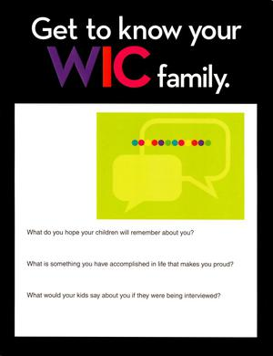 Primary view of object titled 'Get to Know Your WIC Family'.