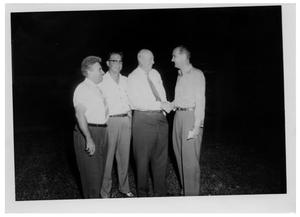 Primary view of object titled '[Lyndon Johnson and Three Men]'.