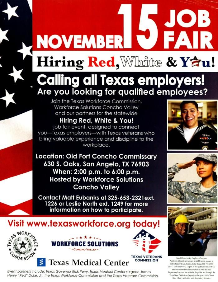 November 15 Job Fair Hiring Red White And You The Portal To Texas History