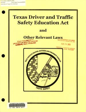 Primary view of object titled 'Texas Driver and Traffic Safety Education Act and Other Relevant Laws, January 31, 2002'.
