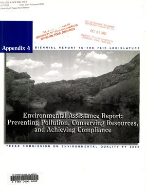 Primary view of object titled 'Biennial Report to the 78th Texas Legislature: Texas Commission on Environmental Quality, Appendix 4'.
