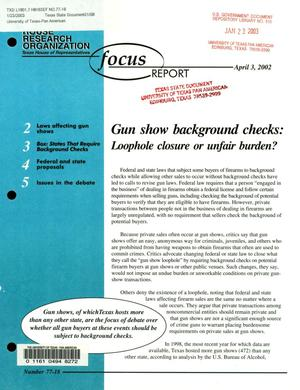 Primary view of object titled 'Focus Report, Volume 77, Number 18, April 2002'.