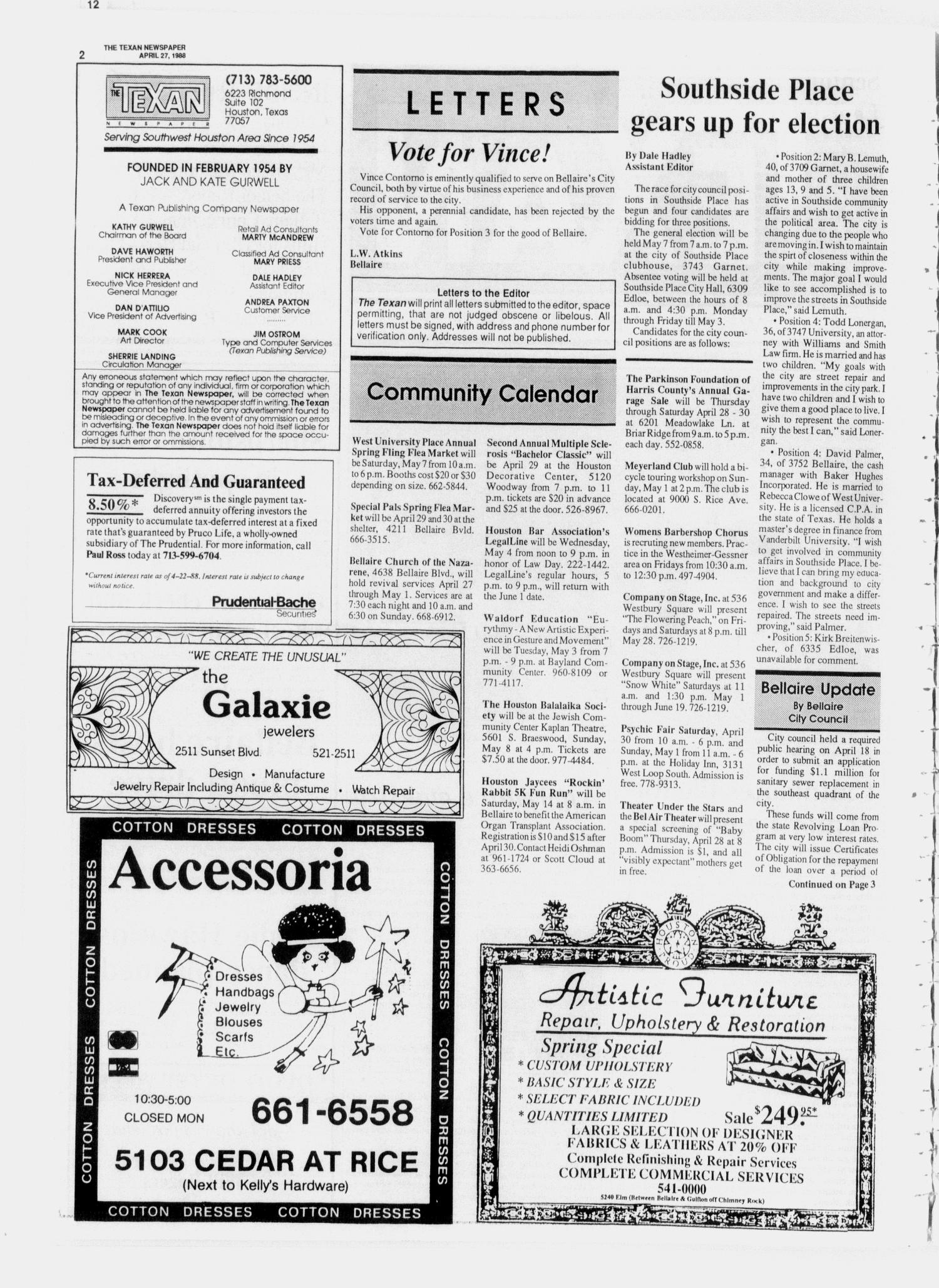 The Texan Newspaper (Houston, Tex.), Vol. 36, No. 17, Ed. 1 Wednesday, April 27, 1988                                                                                                      [Sequence #]: 2 of 12